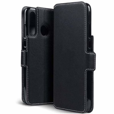 Huawei P30 Lite hoesje, MobyDefend slim-fit extra dunne bookcase, Zwart