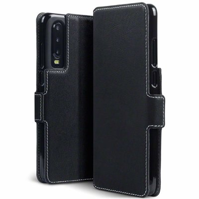 Huawei P30 hoesje, MobyDefend slim-fit extra dunne bookcase, Zwart