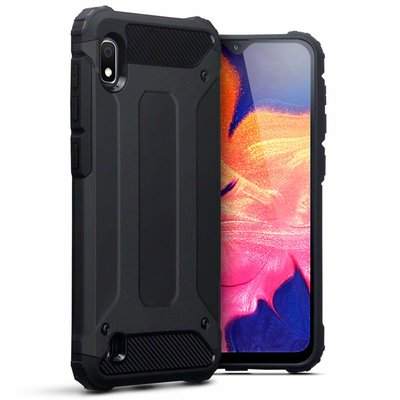 Samsung Galaxy A10 hoesje, dubbel gelaagde pantsercase, zwart