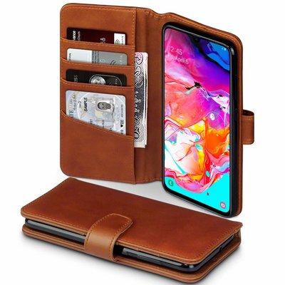 Samsung Galaxy A70 hoesje, MobyDefend luxe echt leren bookcase, Cognac bruin