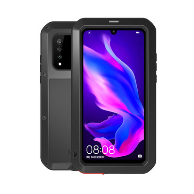 Huawei P30 Lite hoes, Love Mei, metalen extreme protection case, zwart