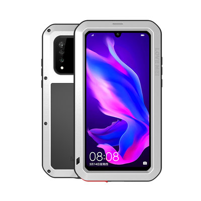 Huawei P30 Lite hoes, Love Mei, metalen extreme protection case, zwart-zilver