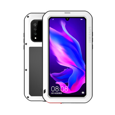 Huawei P30 Lite hoes, Love Mei, metalen extreme protection case, zwart-wit