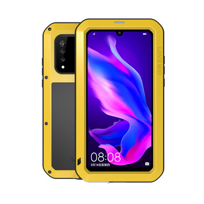 Huawei P30 Lite hoes, Love Mei, metalen extreme protection case, zwart-geel