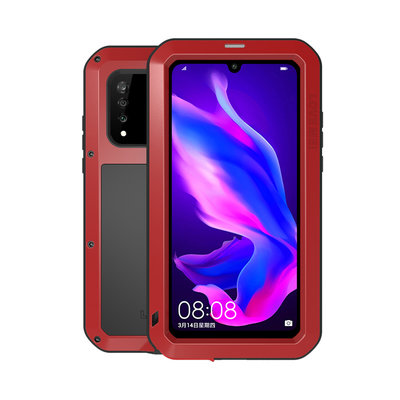 Huawei P30 Lite hoes, Love Mei, metalen extreme protection case, zwart-rood