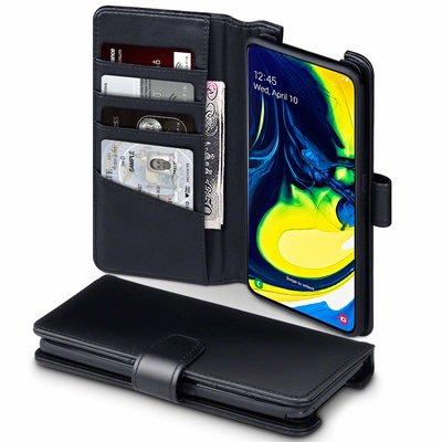 Samsung Galaxy A80 hoesje, luxe echt leren 3-in-1 bookcase, zwart