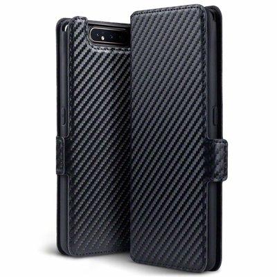 Samsung Galaxy A80 hoesje, carbon look 3-in-1 bookcase, zwart