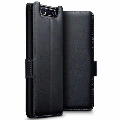 Samsung Galaxy A80 hoesje, echt leren 3-in-1 bookcase, zwart