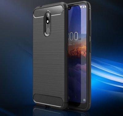 Nokia 3.2 hoesje, gel case brushed carbonlook, zwart