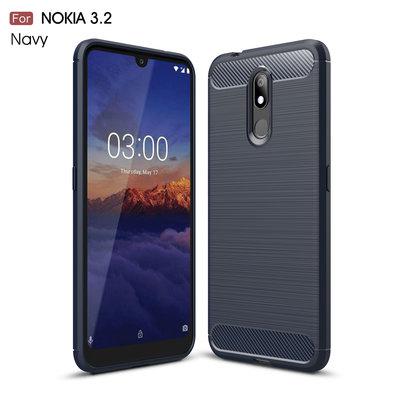Nokia 3.2 hoesje, gel case brushed carbonlook, navy blauw