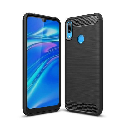 Huawei Y7 (2019) hoesje, gel case brushed carbonlook, zwart
