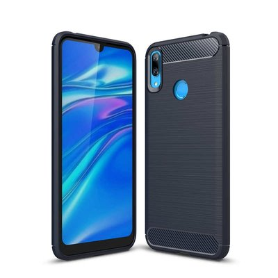 Huawei Y7 (2019) hoesje, gel case brushed carbonlook, navy blauw