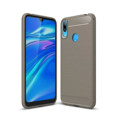 Huawei Y7 (2019) hoesje, gel case brushed carbonlook, grijs