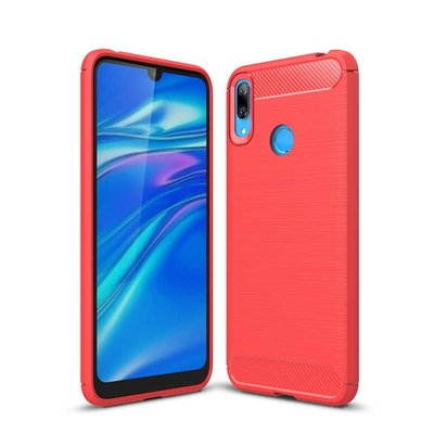 Huawei Y7 (2019) hoesje, gel case brushed carbonlook, rood