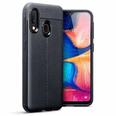 Samsung Galaxy A20e hoesje, gel case lederlook, zwart