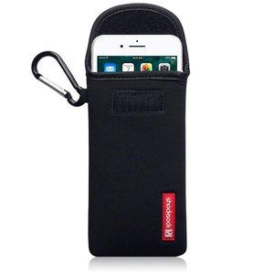 Hoesje voor Apple iPhone 7 Plus en iPhone 8 Plus, Shocksock neopreen pouch met karabijnhaak, insteekhoesje, zwart