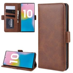 Samsung Galaxy Note 10 Plus hoesje (Note 10+), Luxe 3-in-1 bookcase, bruin