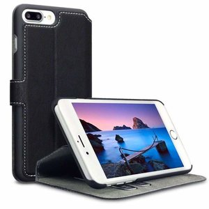 Apple iPhone 7 Plus / iPhone 8 Plus hoesje, MobyDefend slim-fit extra dunne bookcase, Zwart