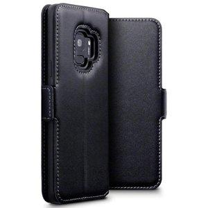 Samsung Galaxy S9 hoesje, echt leren 3-in-1 bookcase, zwart