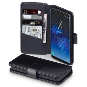 Samsung Galaxy S8 hoesje, MobyDefend luxe echt leren bookcase, Zwart