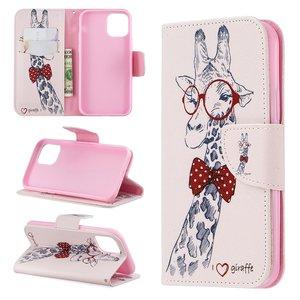 iPhone 11 Pro hoesje, 3-in-1 bookcase met print, giraffe