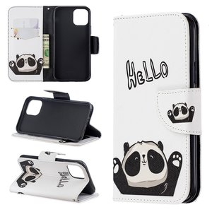 iPhone 11 Pro hoesje, 3-in-1 bookcase met print, panda, hello