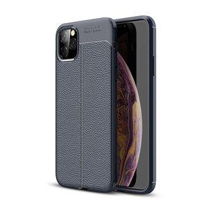 iPhone 11 Pro Max hoesje, gel case lederlook, navy blauw