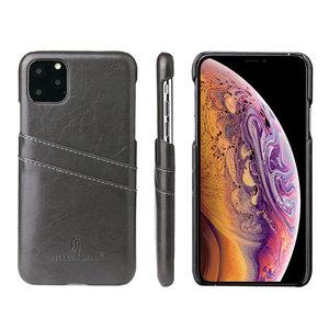 iPhone 11 Pro Max hoesje, Lederen hardcase met vakjes voor pasjes, zwart