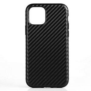 iPhone 11 Pro Max hoesje, gel case carbonlook, zwart