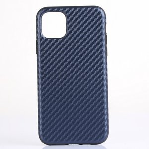 iPhone 11 Pro Max hoesje, gel case carbonlook, navy blauw