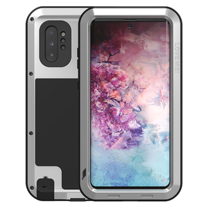 Samsung Galaxy Note 10 Plus hoes (Note 10+), Love Mei, metalen extreme protection case, zilver