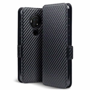 Nokia 6.2 / Nokia 7.2 hoesje, MobyDefend slim-fit carbonlook bookcase, Zwart