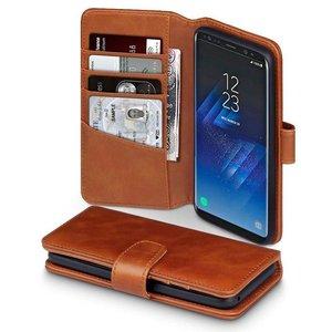 Samsung Galaxy S8 hoesje, MobyDefend luxe echt leren bookcase, Cognac bruin