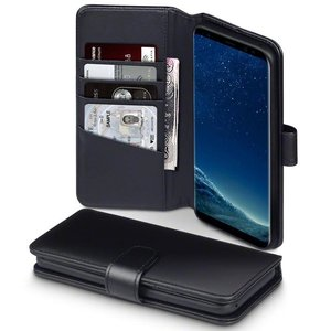 Samsung Galaxy S8 Plus (S8+) hoesje, MobyDefend luxe echt leren bookcase, Zwart