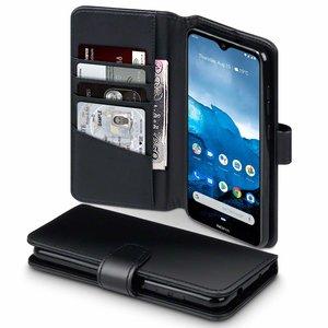Nokia 6.2 / Nokia 7.2 hoesje, MobyDefend luxe echt leren bookcase, Zwart