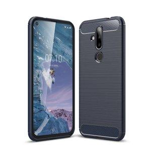 Nokia 6.2 / Nokia 7.2 hoesje, gel case brushed carbonlook, navy blauw