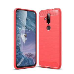 Nokia 6.2 / Nokia 7.2 hoesje, gel case brushed carbonlook, rood