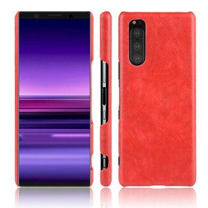 Sony Xperia 5 hoesje, Lederen hardcase, rood