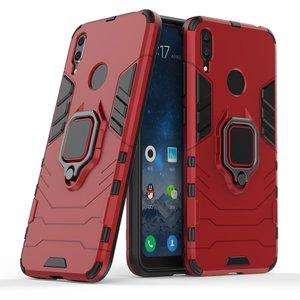 Huawei Y7 (2019) hoesje, dubbel gelaagde pantser case met standaard, rood