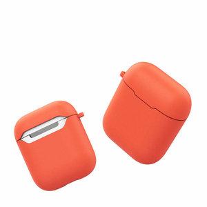 Siliconen TPU hoesje voor Apple Airpods met karabijnhaak, Oranje