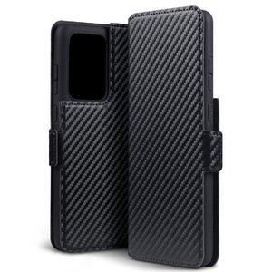 Samsung Galaxy S20 Ultra hoesje, MobyDefend slim-fit carbonlook bookcase, Zwart