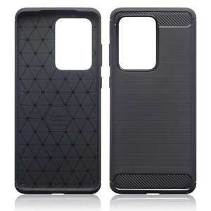 Samsung Galaxy S20 Ultra hoesje, Gel case geborsteld metaal en carbonlook, Zwart