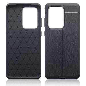 Samsung Galaxy S20 Ultra hoesje, Gel case lederlook, Zwart