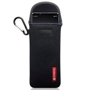Hoesje voor Sony Xperia 1 II, Shocksock neopreen pouch met karabijnhaak, insteekhoesje, zwart