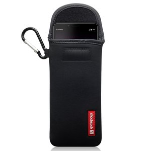 Hoesje voor Sony Xperia 10 II, Shocksock neopreen pouch met karabijnhaak, insteekhoesje, zwart