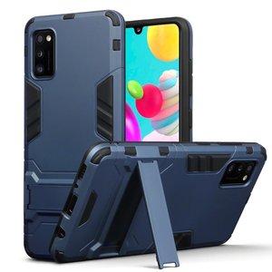 Samsung Galaxy A41 hoesje, Dubbel gelaagde pantser case met standaard, Navy blauw