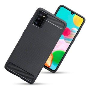 Samsung Galaxy A41 hoesje, Gel case geborsteld metaal en carbonlook, Zwart