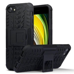Apple iPhone SE (2020) / iPhone 7 / iPhone 8 hoesje, Pantsercase met standaard, Zwart