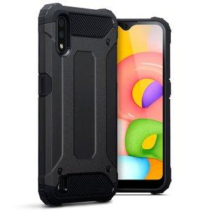 Samsung Galaxy A01 hoesje, Dubbel gelaagde pantsercase, Zwart