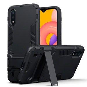 Samsung Galaxy A01 hoesje, Dubbel gelaagde pantser case met standaard, Zwart